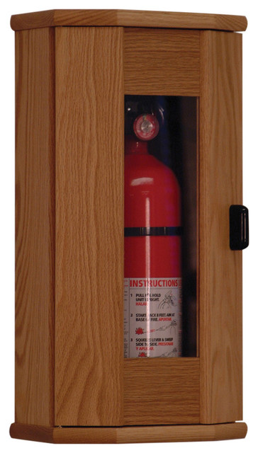 Wooden Mallet Fire Extinguisher Cabinet - 5 lb. Capacity, Light Oak ...