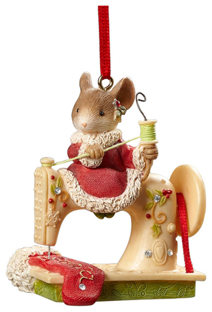 Christmas Mouse.Enesco Heart Of Christmas Mouse Sewing Machine Ornament