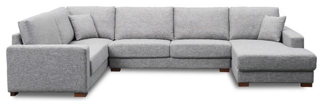 Peachy Carney U Sectional Sofa Gray Right Hand Facing Uwap Interior Chair Design Uwaporg