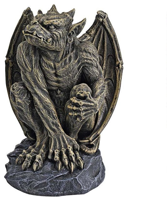 Medieval Gothic Gorgoyle Desktop Table Statue Sculpture Figurine  Traditional Garden Statues And