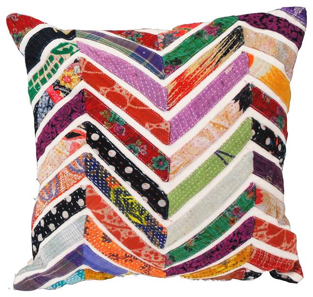 Vintage Style Sari Chevron Stripe Pillow White Decorative Pillows