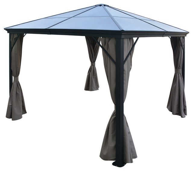 Bali Outdoor 10&x27;x10&x27; Aluminum Framed Gazebo With Curtains, Brown/black.