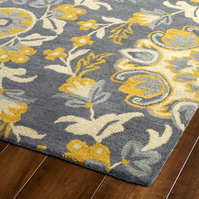 "Kaleen Hand Tufted Global Inspiration Gray Wool Rug, Gray, 2'6""x8'"