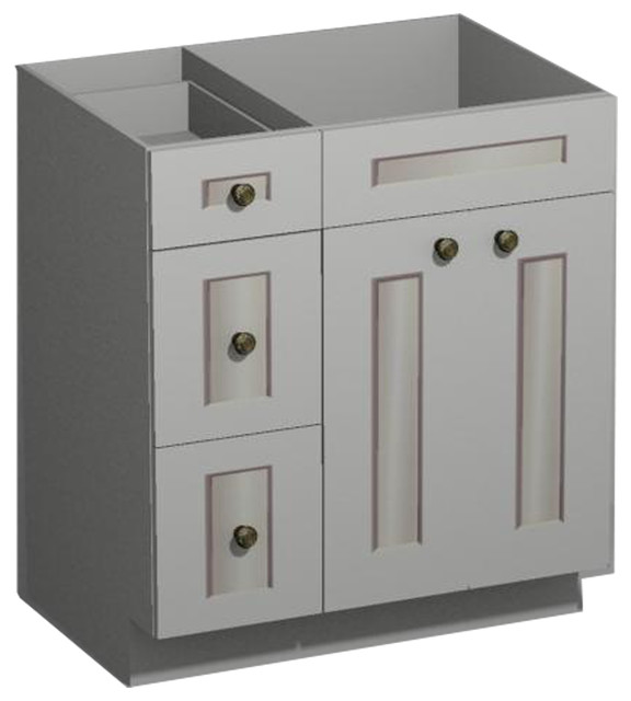 30 inch white shaker vanity combo base-drawers left - us cabnet 30 Bathroom Vanity with Drawers