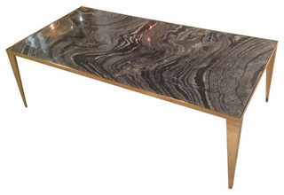Nuevo Living Mink Coffee Table, Black Vein Marble, Brushed Gold