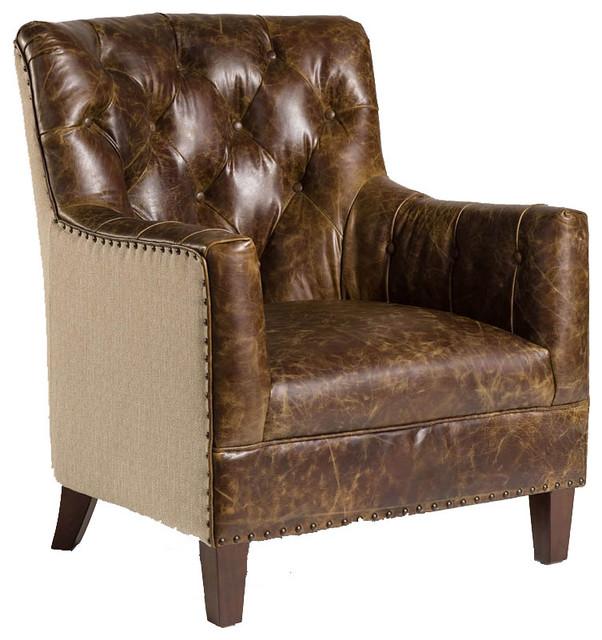 Hartford Vintage Cigar Leather Tweed Reading Chair