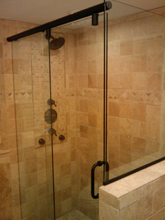 Framless Return Shower Doors With Knee Walls