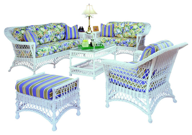 Bar harbor 6 piece living room furniture set in white for 6 piece living room furniture sets
