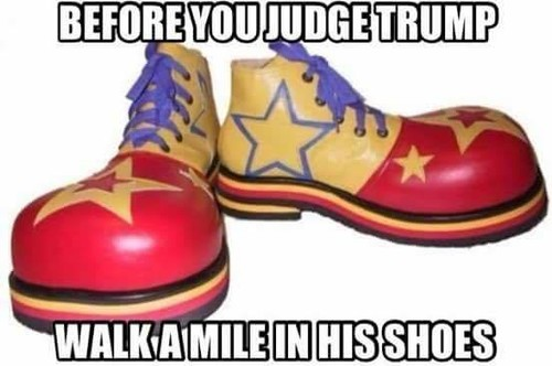 Image result for walk a mile in trump's shoes