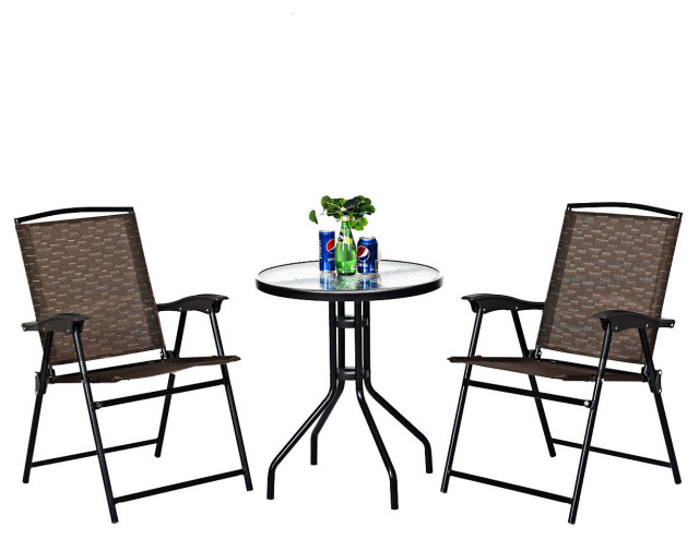 Folding Garden Bistro Lounge Set with Matching Glass Top Coffee Table /& 2 Chairs Faux Rattan Lounge Furniture Set