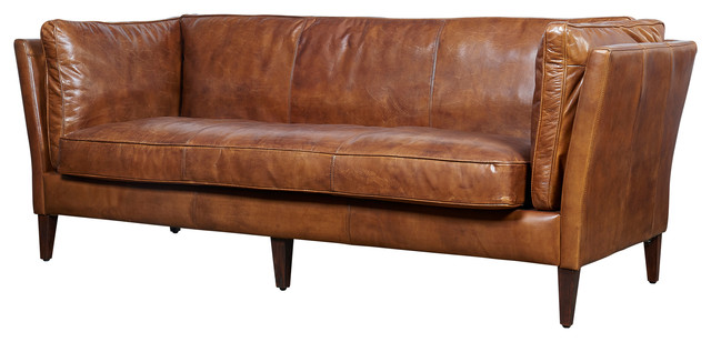 top grain vintage leather kenmore sofa light brown midcentury sofas by crafters and weavers. Black Bedroom Furniture Sets. Home Design Ideas
