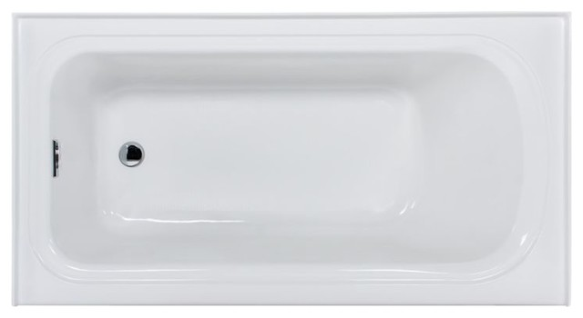 "Miseno Indulgence 60"" 3 Wall Alcove Soaking Bathtub, White."