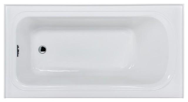 Miseno Indulgence 60 3 Wall Alcove Soaking Bathtub, White.