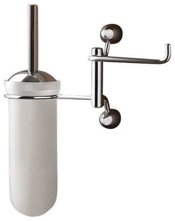 Wall mounted round frosted glass toilet brush holder with Glass toilet roll holder