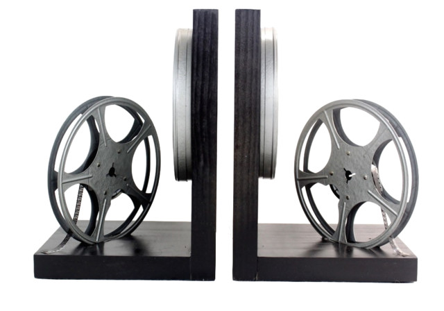 Vintage 8mm Film Reel Bookends Dvd Holder Movie Theater Decor Black