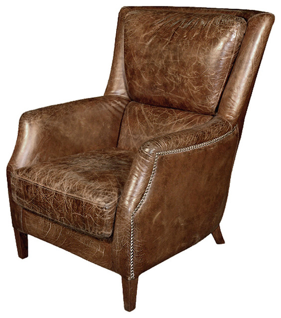 Superieur Chelsea Classic Masculine Room Distressed Cigar Leather Arm Chair