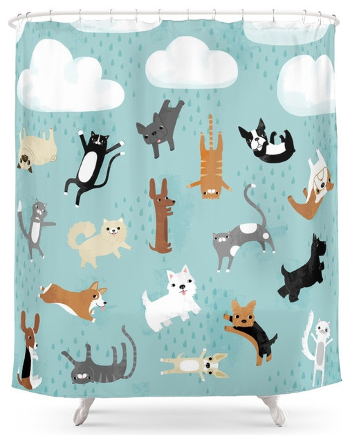 Society6 Raining Cats And Dogs Shower Curtain Contemporary Shower Curtains