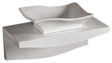 Whitehaus Whkn1078-1116 Ceramic Bathroom Basin With Wall Mount Counter.