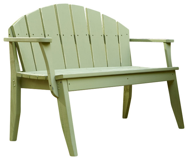 Plaza 2 Seat Bench With Back Forest Green Wash