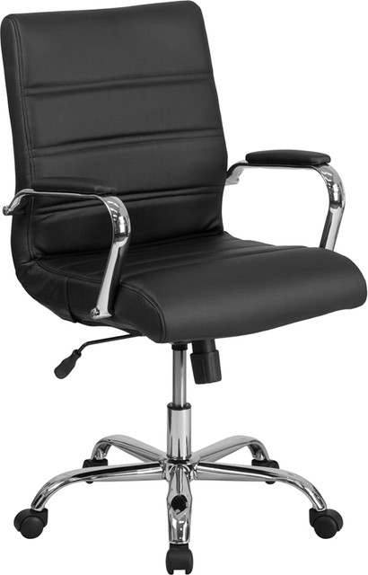 Mid-Back Leather Executive Swivel Office Chair With Chrome Arms ...