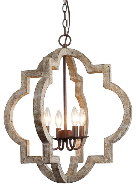 Farmhouse Chandelier Foyer Wood Geometric Pendant 4-Light 24.2″H × 21.7″W