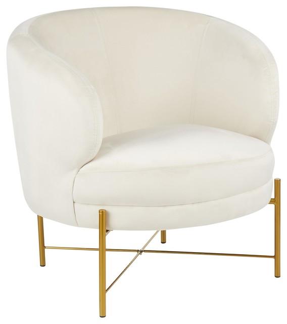 Chloe Accent Chair, Gold Metal, Cream Velvet