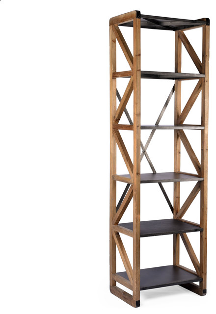 Hudson Reclaimed Wood And Iron Tall Bookcase. -1