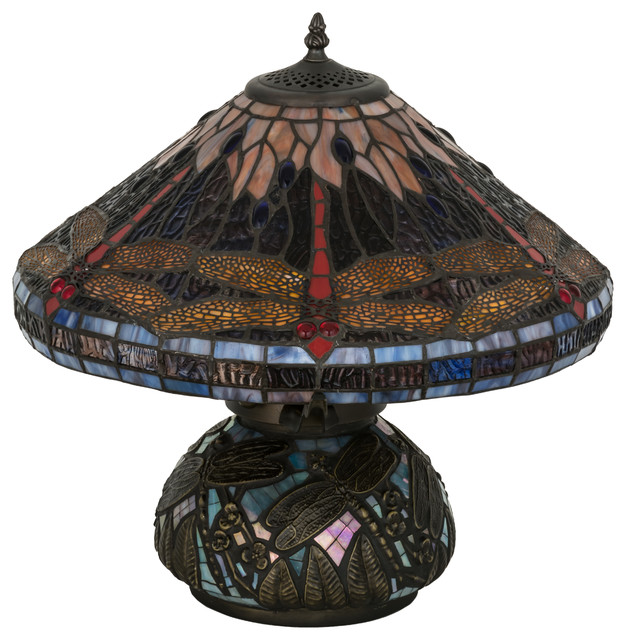 16 Tiffany Dragonfly Cone Table Lamp Victorian Table Lamps By Lighting Front