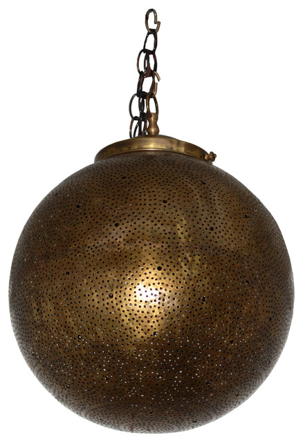 Round With Intricate Design Moroccan Hanging Brass Lantern mediterranean- pendant-lighting  sc 1 st  Houzz : morrocan pendant light - azcodes.com