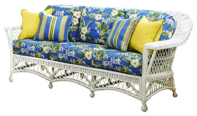Bar Harbor Sofa, White, Jamaica Mist Fabric tropical-sofas