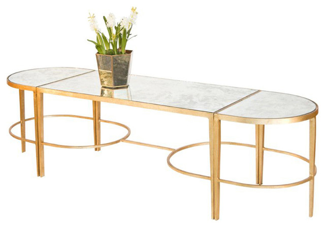 3-Piece Mirrored Coffee Table, Gold Leaf transitional-coffee-tables - Shop Houzz Worlds Away 3-Piece Mirrored Coffee Table, Gold Leaf