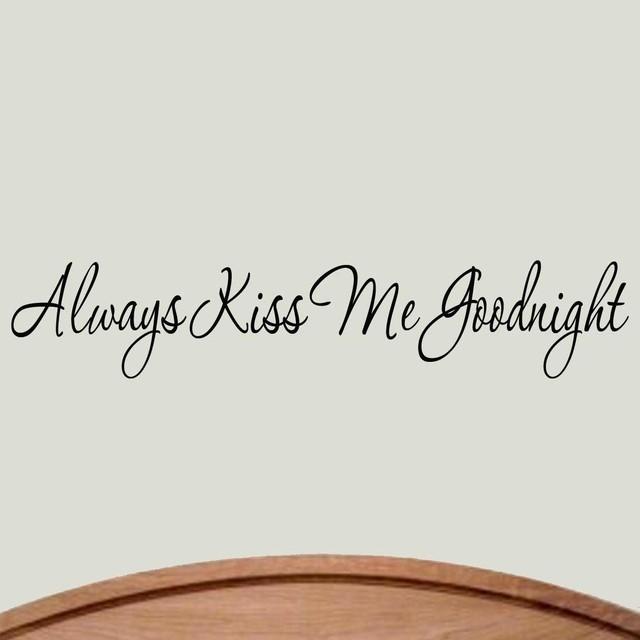VWAQ Always Kiss Me Goodnight Wall Decal Love Sayings Bedroom Decor Stickers