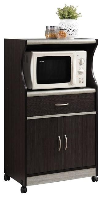 Hodedah Microwave Kitchen Cart in Chocolate Gray