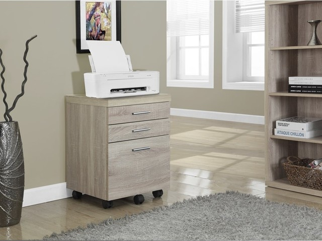 Filing Cabinet, 3 Drawer, Natural On Castors.