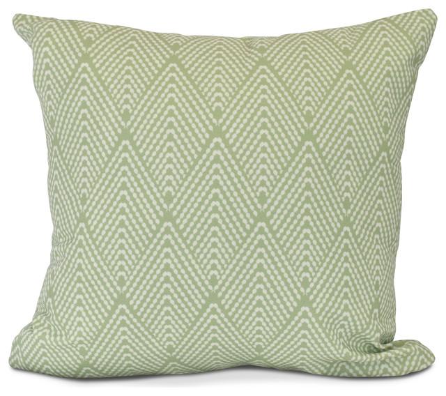 Lifeflor Geometric Print Outdoor Pillow Green Contemporary