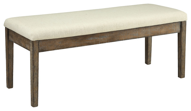 Acme Claudia Bench, Beige Linen And Salvage Brown. -1