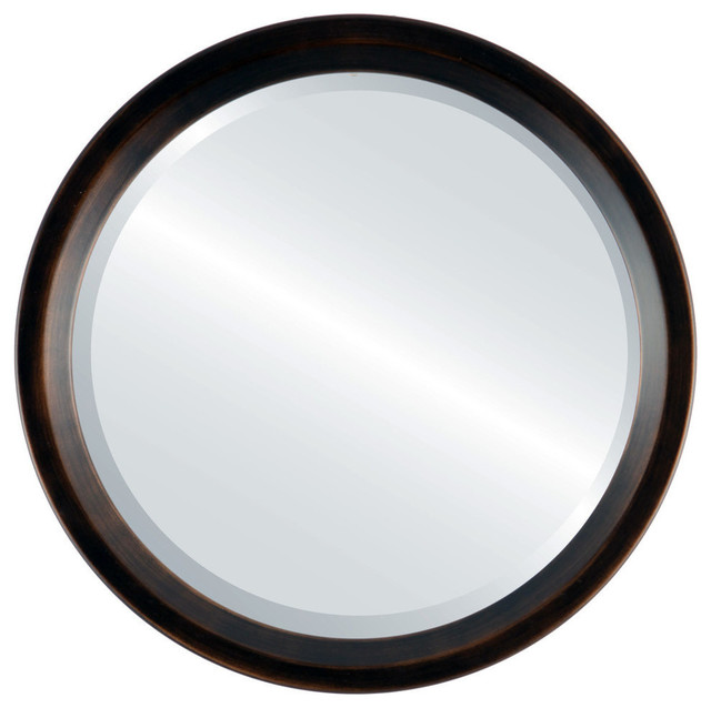 Huntington Framed Round Mirror, Rubbed Bronze, 26x26.