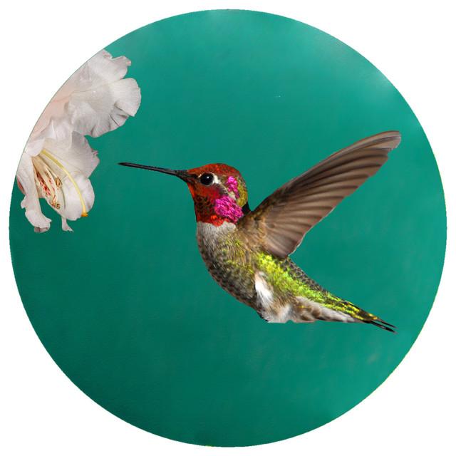 Andreas Custom Anna Hummingbird Trivet Round Tropical - Custom photo trivet