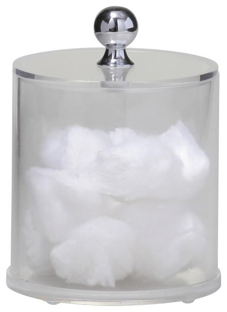 Superbe Acrylic Cotton Ball Container, Chrome