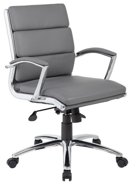 Boss Office Caressoftplus Executive Mid Back Chair Gray