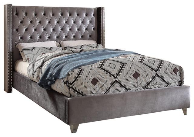 Ames Velvet Bed, Gray, King.