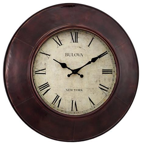 Bulova Watford Aged Bronze Metal Wall Clock Parchment