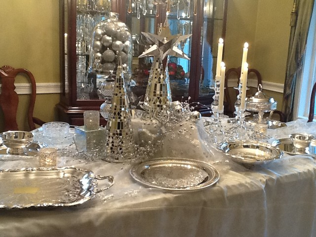 White And Silver Christmas Decorating Traditional