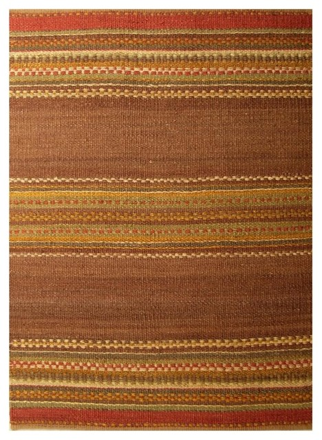 Handwoven Jute Rug, Brown, Brick Red, And Yellow, 5&x27;x8&x27;.