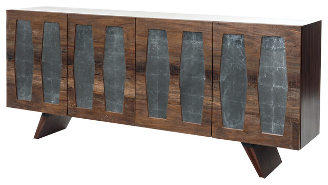 Bruce Rustic Lodge Mirrored Cutout Reclaimed Wood Console Cabinet