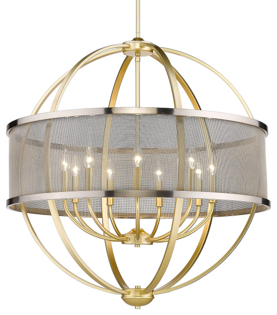 Colson 9 Light Chandelier, Olympic Gold With Pewter