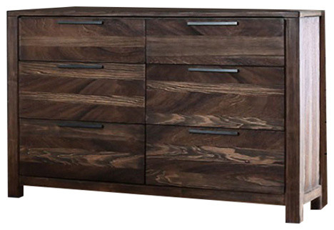 Phenomenal Wooden Dresser In Transitional Style, Rustic Natural Brown.