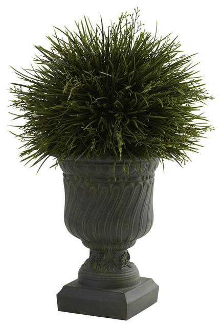 Potted Grass With Decorative Urn Indoor Or Outdoor Traditional