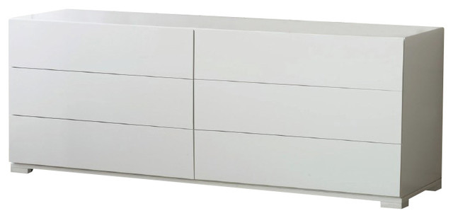 Roma Modern White Lacquer Double Dresser Dressers