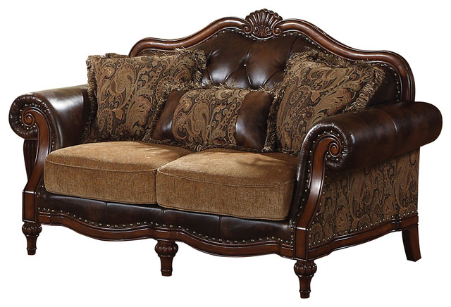 Acme Dreena Traditional Bonded Leather And Chenille Loveseat.
